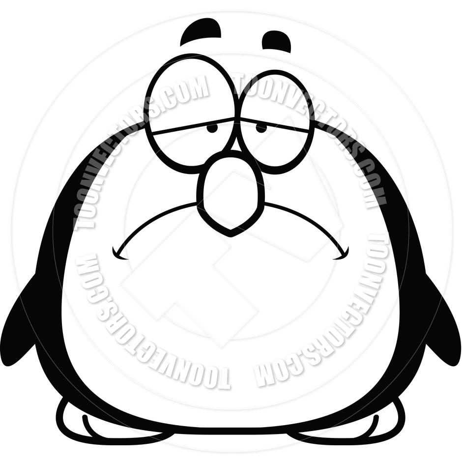 940x940 Cartoon Little Penguin Sad (Black And White Line Art) By Cory