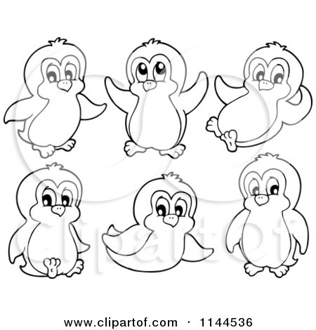 450x470 Cartoon Of Cute Black And White Penguins