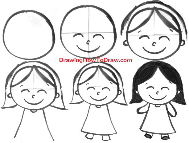 613x462 Easy To Draw Cartoon Girl