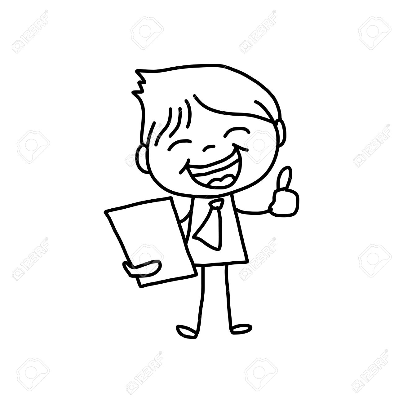 1300x1300 Hand Drawing Cartoon Character Happy Business Person Royalty Free
