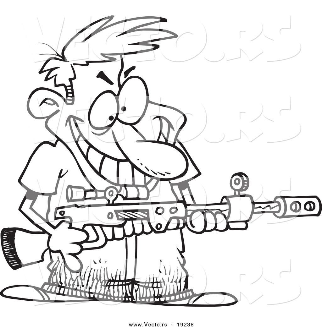 1024x1044 Vector Of A Cartoon Demented Man Holding A Gun