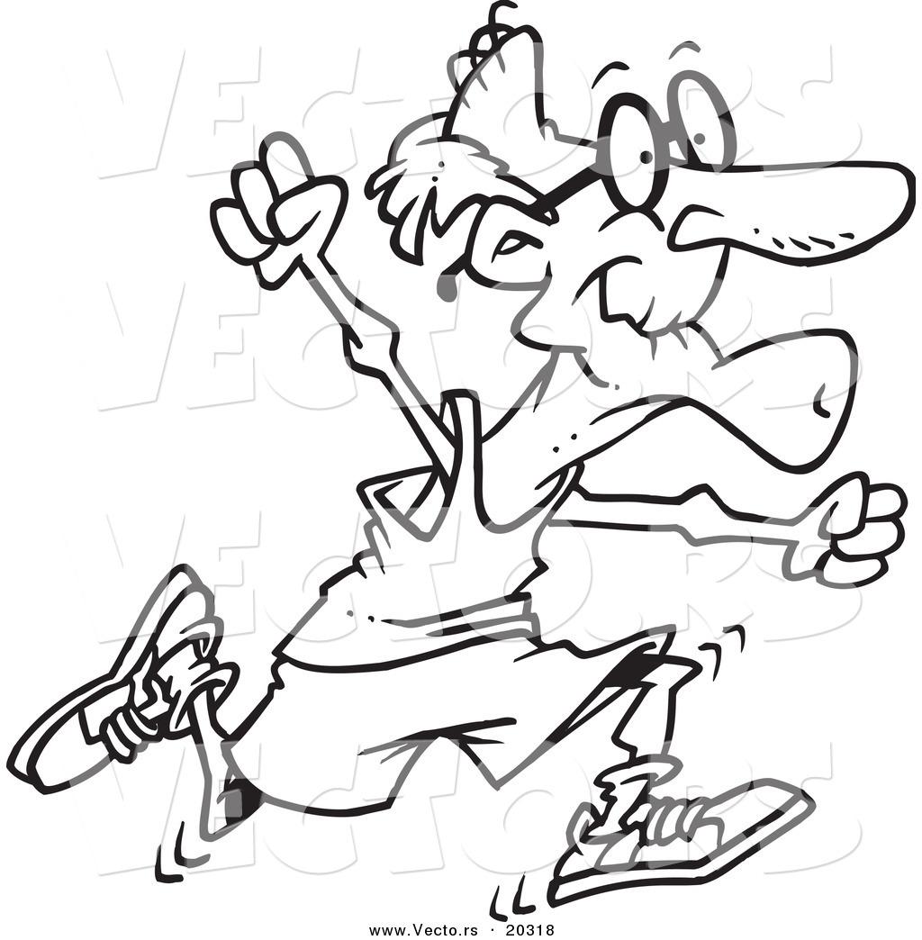 1024x1044 Vector Of A Cartoon Fit Senior Man Running