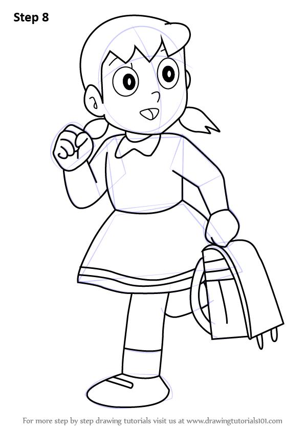 596x843 Learn How To Draw Shizuka From Doraemon (Doraemon) Step By Step