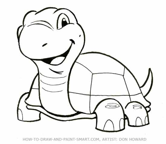 550x477 Coloring Pages Turtle Cartoon Drawing How To Draw A Step 6