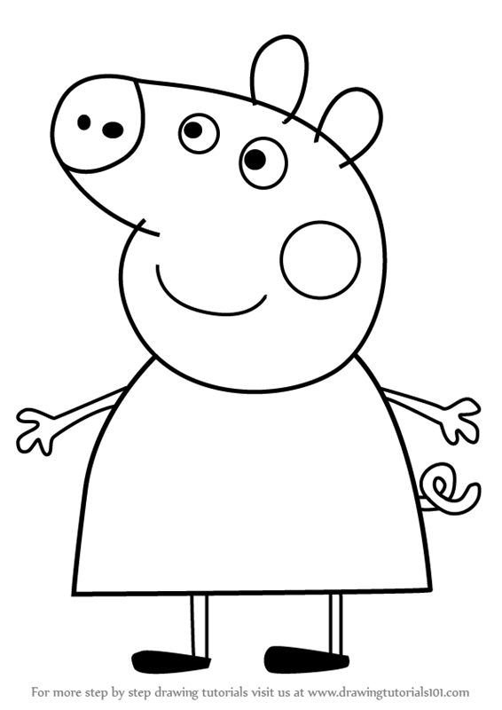 566x800 Learn How To Draw Mummy Pig From Peppa Pig (Peppa Pig) Step By