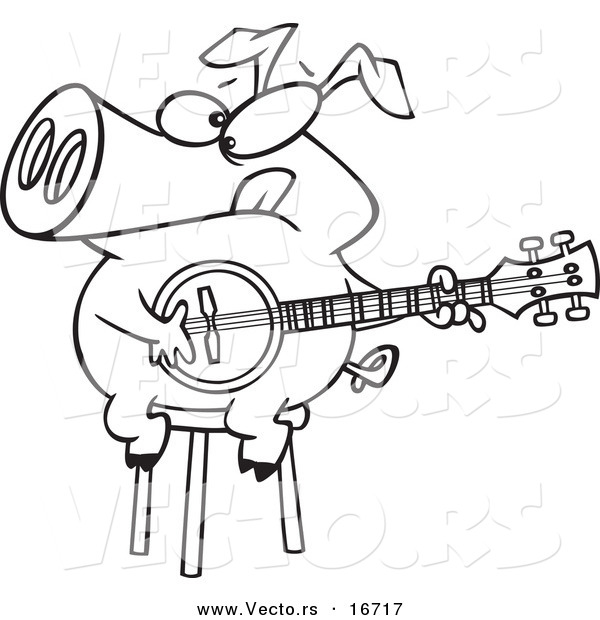 600x620 Vector Of A Cartoon Pig Sitting On A Stool And Playing A Banjo