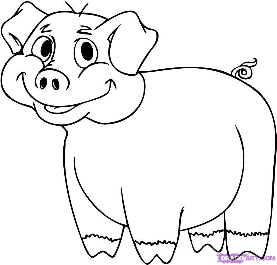 909x869 How To Draw A Cartoon Pig Step 6 Tree Murals