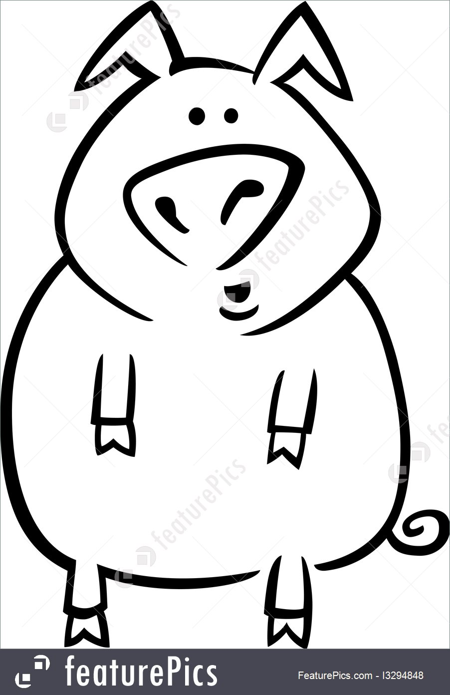 902x1392 Cartoon Pig For Coloring Page Illustration
