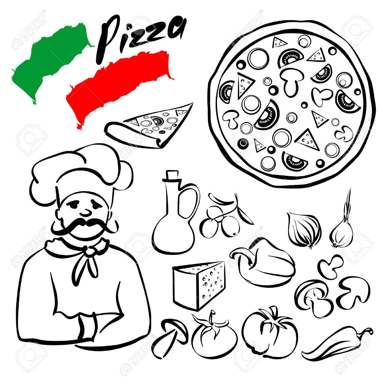 1300x1300 Pizza Collection Sketch Cartoon Vector Illustration Royalty Free