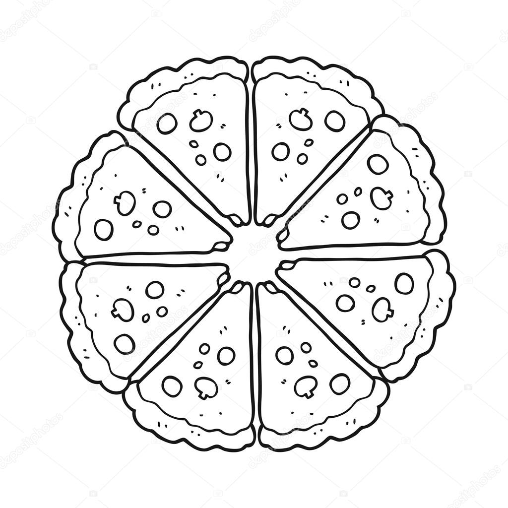 1024x1024 Black And White Cartoon Pizza Stock Vector Lineartestpilot