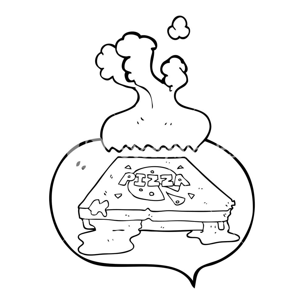 1000x1000 Freehand Drawn Speech Bubble Cartoon Pizza Royalty Free Stock