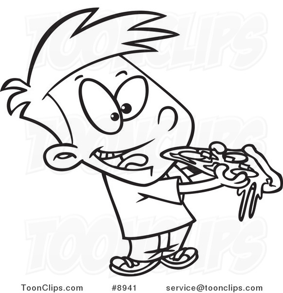 581x600 Cartoon Black And White Line Drawing Of A Boy Eating Pizza