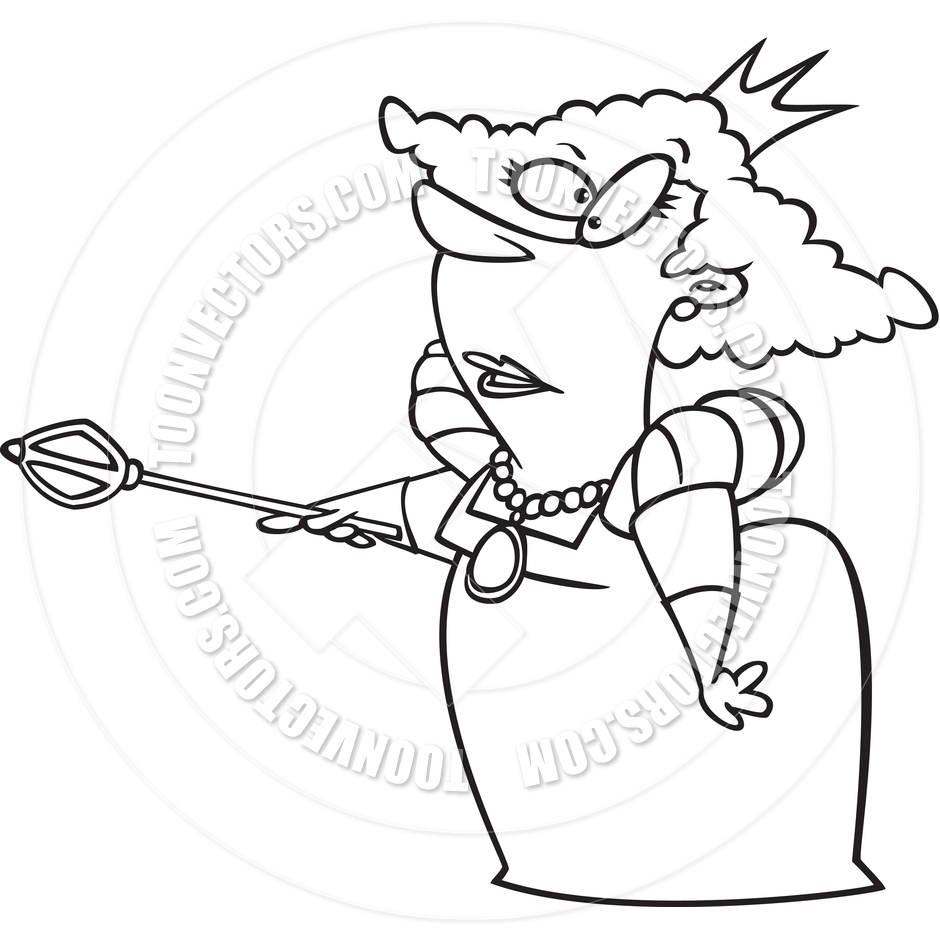 940x940 Cartoon Queen (Black And White Line Art) By Ron Leishman Toon