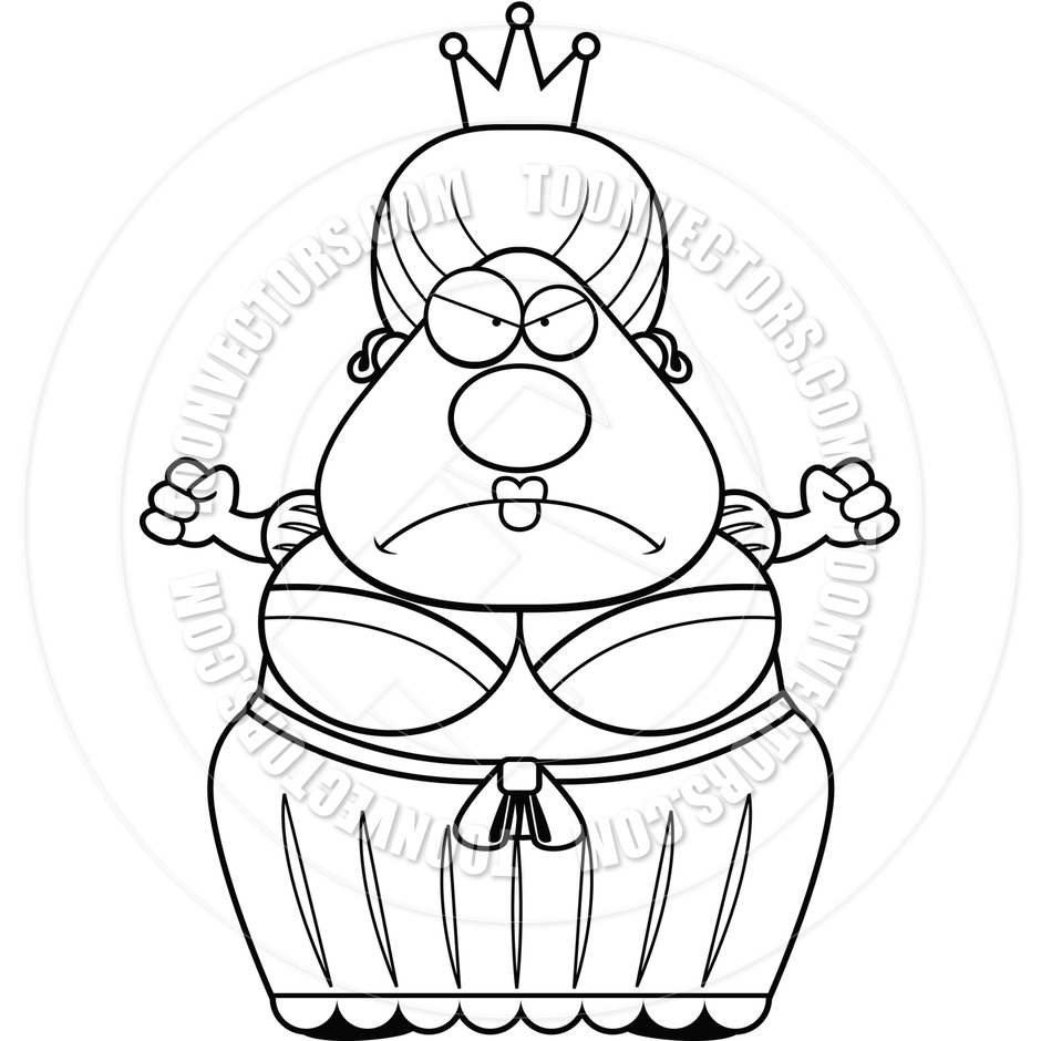 940x940 Cartoon Queen Angry (Black And White Line Art) By Cory Thoman