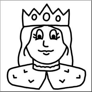 304x304 Clip Art Cartoon Faces Queen Bampw I Abcteach