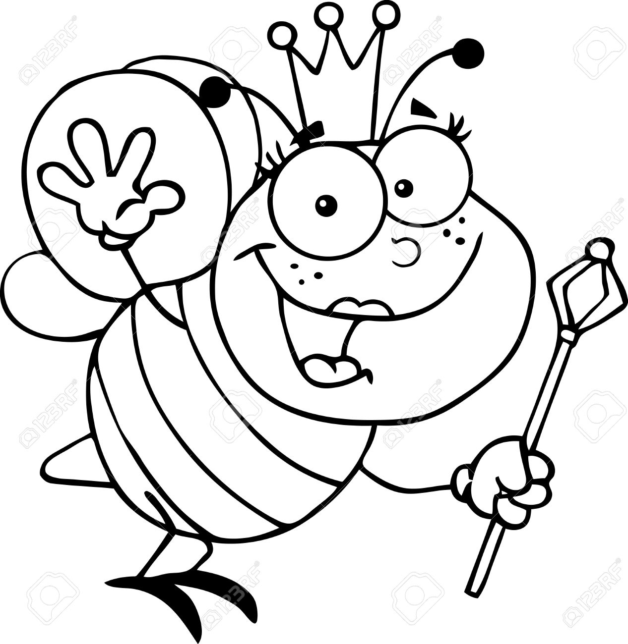 1266x1300 Outlined Queen Bee Cartoon Character Waving For Greeting Royalty