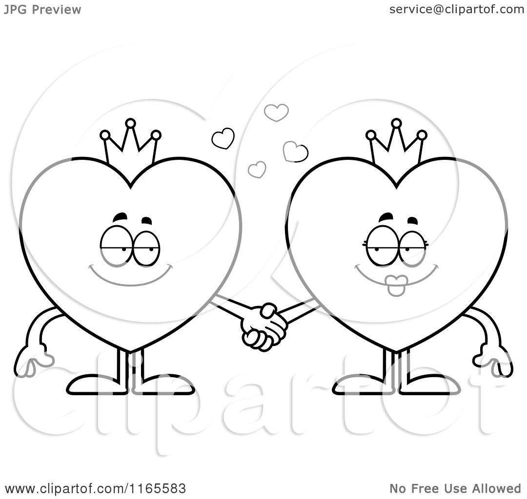 1080x1024 Cartoon Clipart Of King And Queen Heart Card Suit Mascots Holding