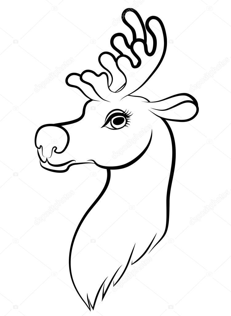 751x1024 Contour Cartoon Muzzle Reindeer Stock Vector Agrino