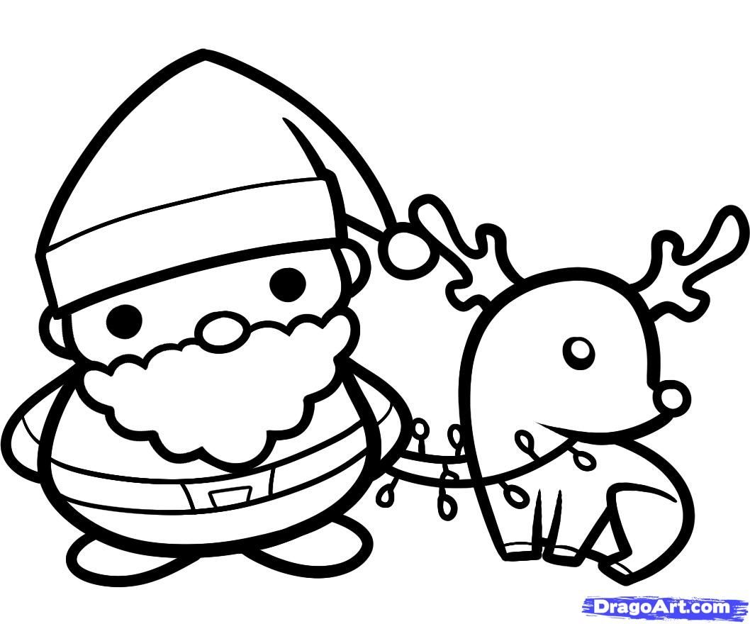 1058x880 How To Draw Santa And Rudolph Holidays Christmas