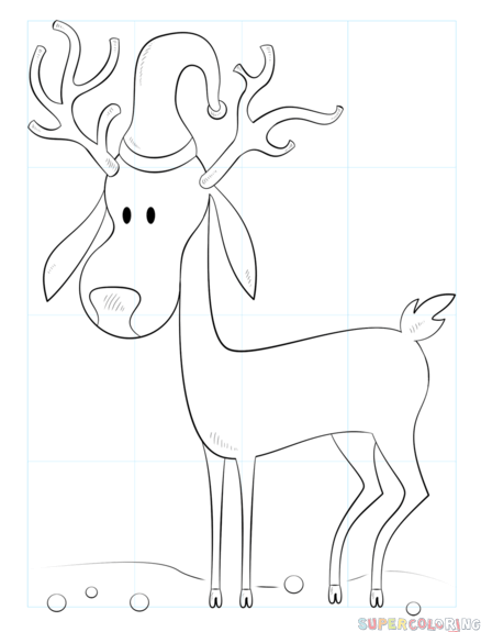 438x575 How To Draw A Cartoon Christmas Reindeer Step By Step Drawing