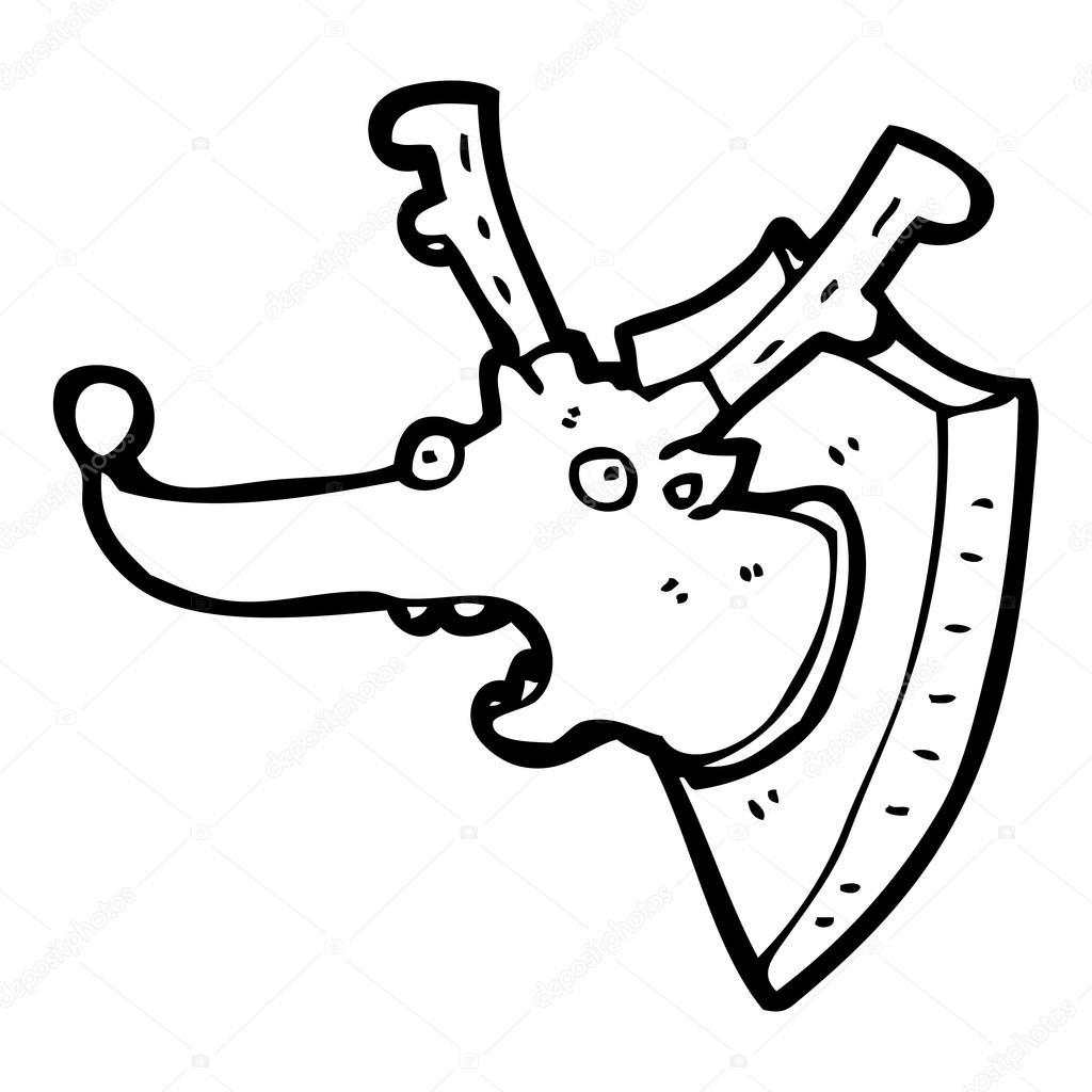 1024x1024 Reindeer Mounted Head Cartoon Stock Vector Lineartestpilot