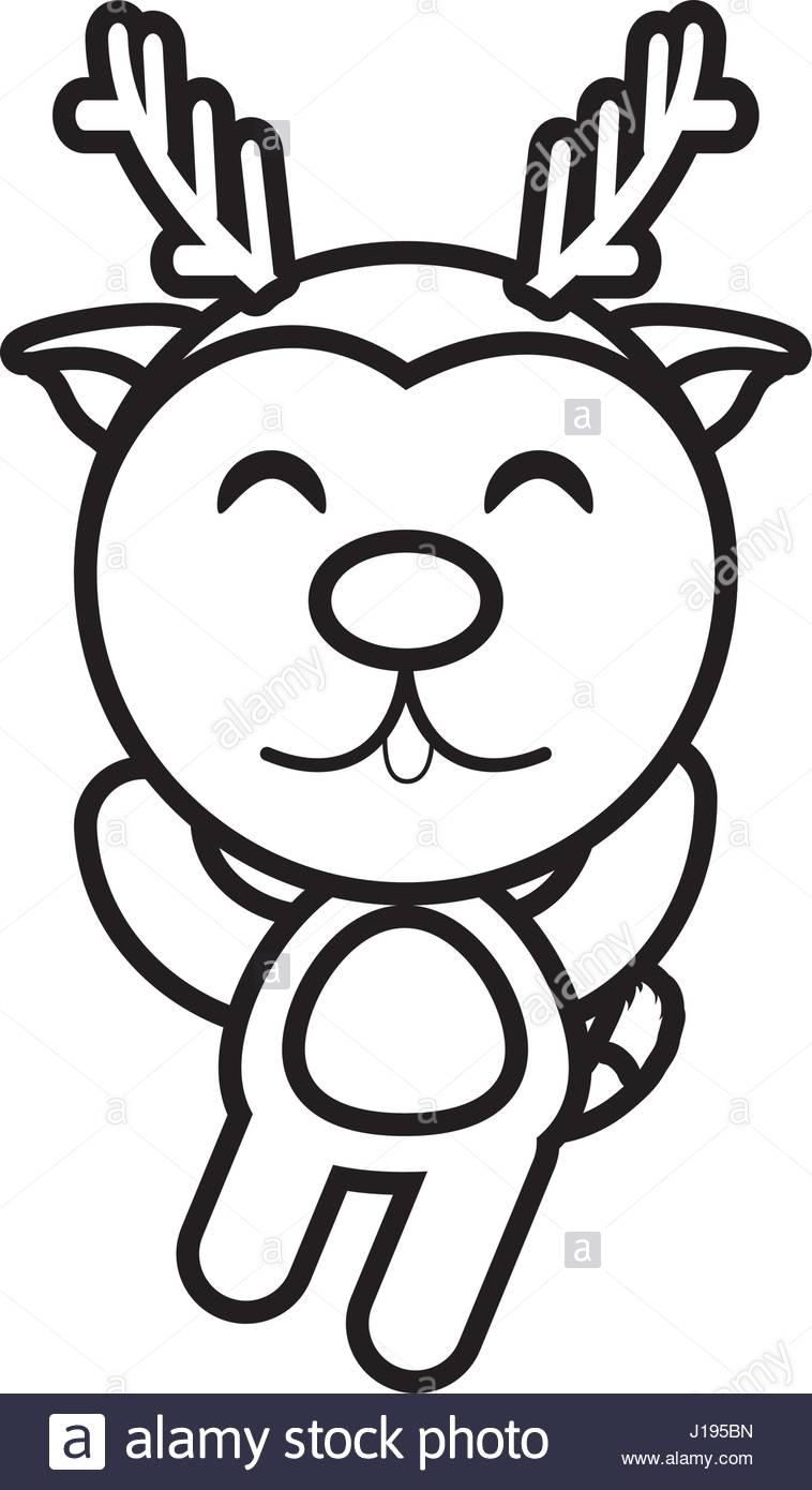 758x1390 Cartoon Reindeer Animal Outline Stock Vector Art Amp Illustration