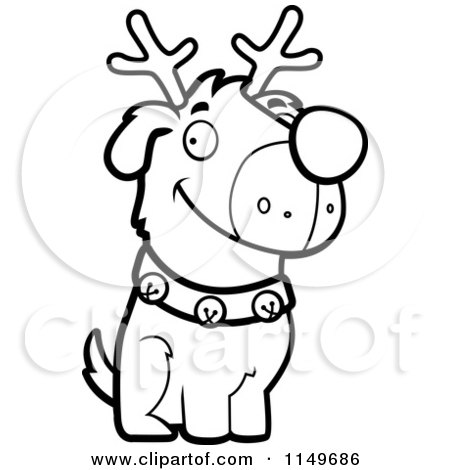 450x470 Cartoon Clipart Of A Black And White Reindeer Dog Sitting