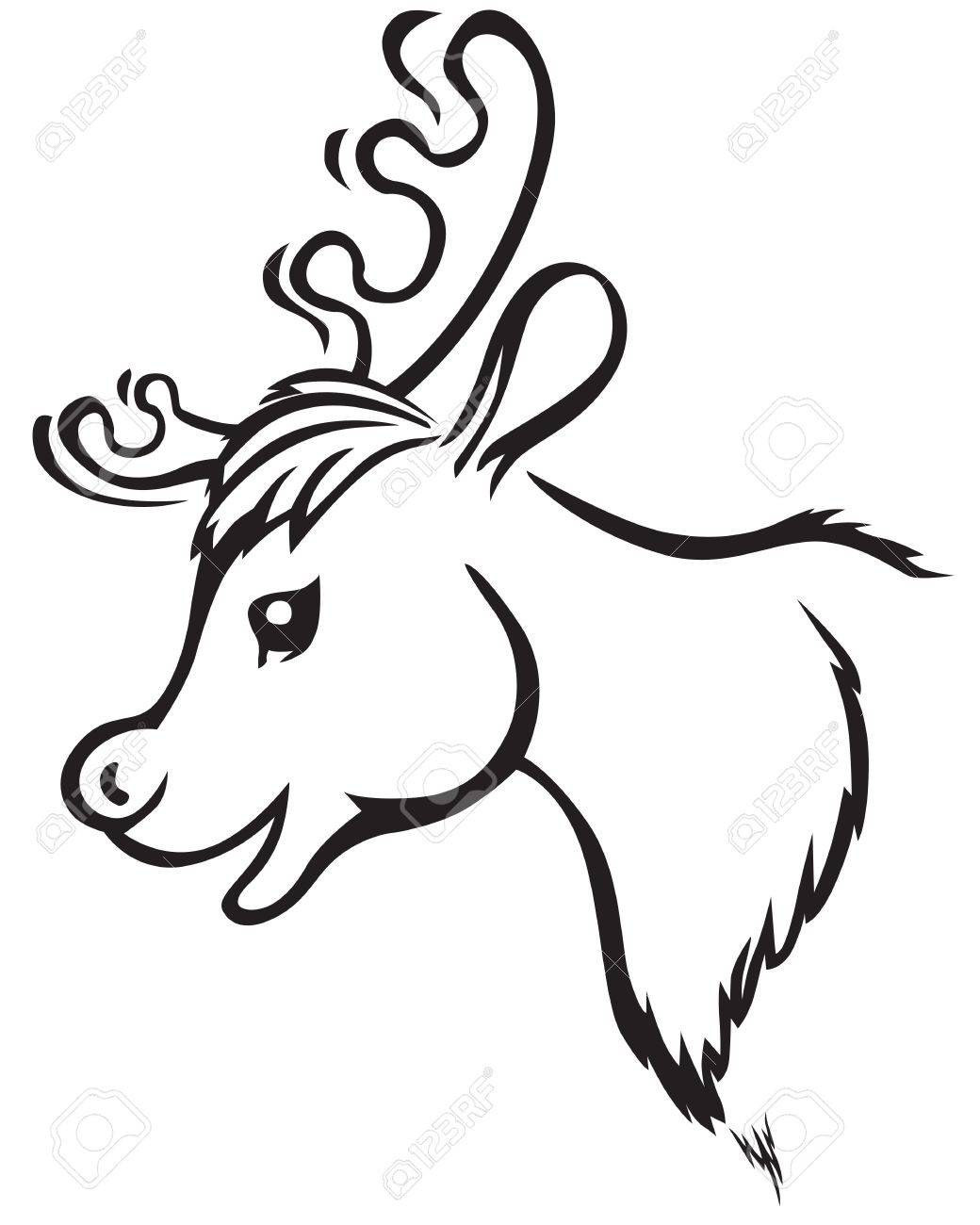 1040x1300 Contour Image Of Cartoon Muzzle Reindeer Royalty Free Cliparts