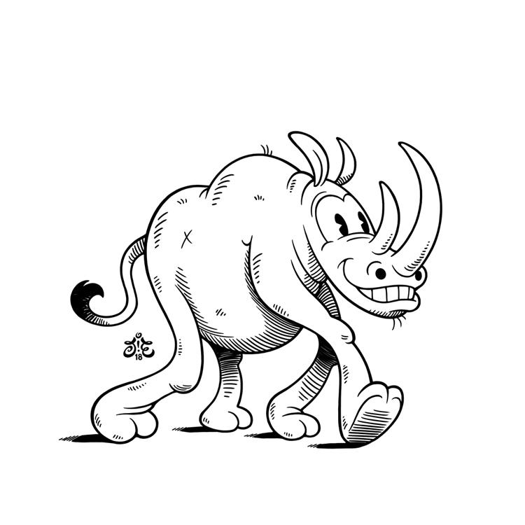 Cartoon Rhino Drawing