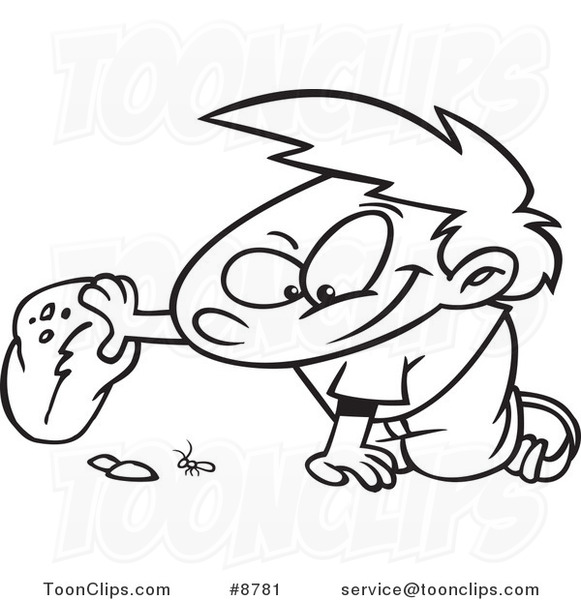 581x600 Cartoon Black And White Line Drawing Of A Boy Watching A Bug Under