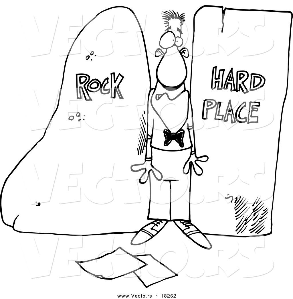 1024x1044 Vector Of A Cartoon Man Stuck Between A Rock And A Hard Place