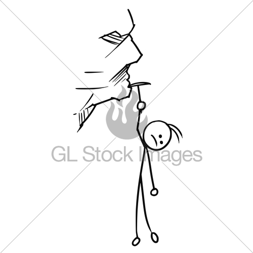 500x500 Cartoon Of Man Hanging On The Rock Gl Stock Images