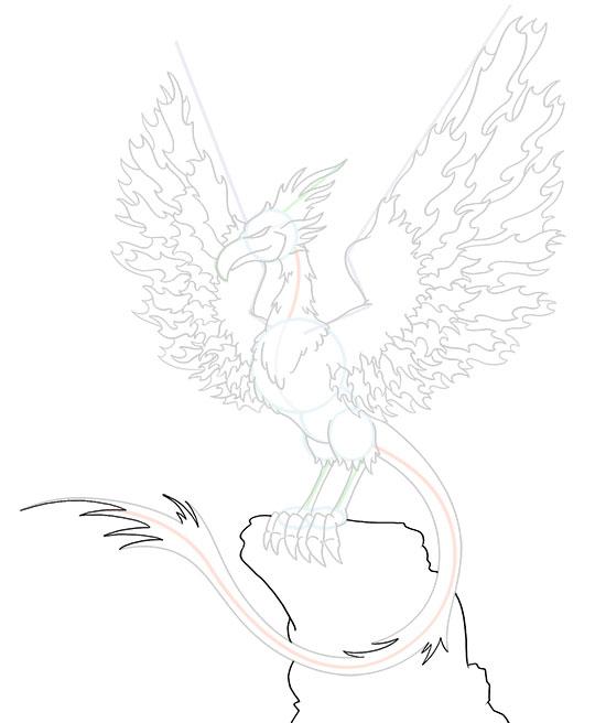 540x656 Cartoon Phoenix Step By Step Drawing Lesson