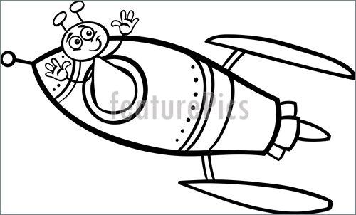 500x302 Alien In Rocket Cartoon Coloring Page Illustration
