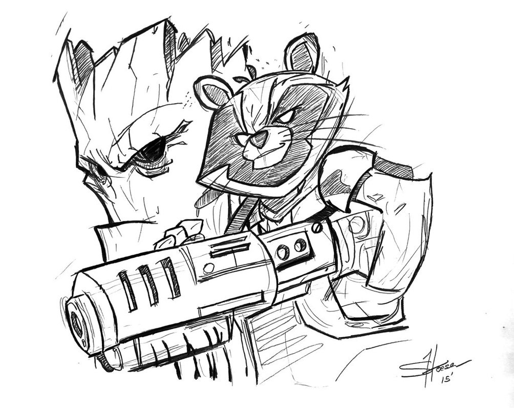 1004x796 Rocket And Groot Sketch By Shane Derek
