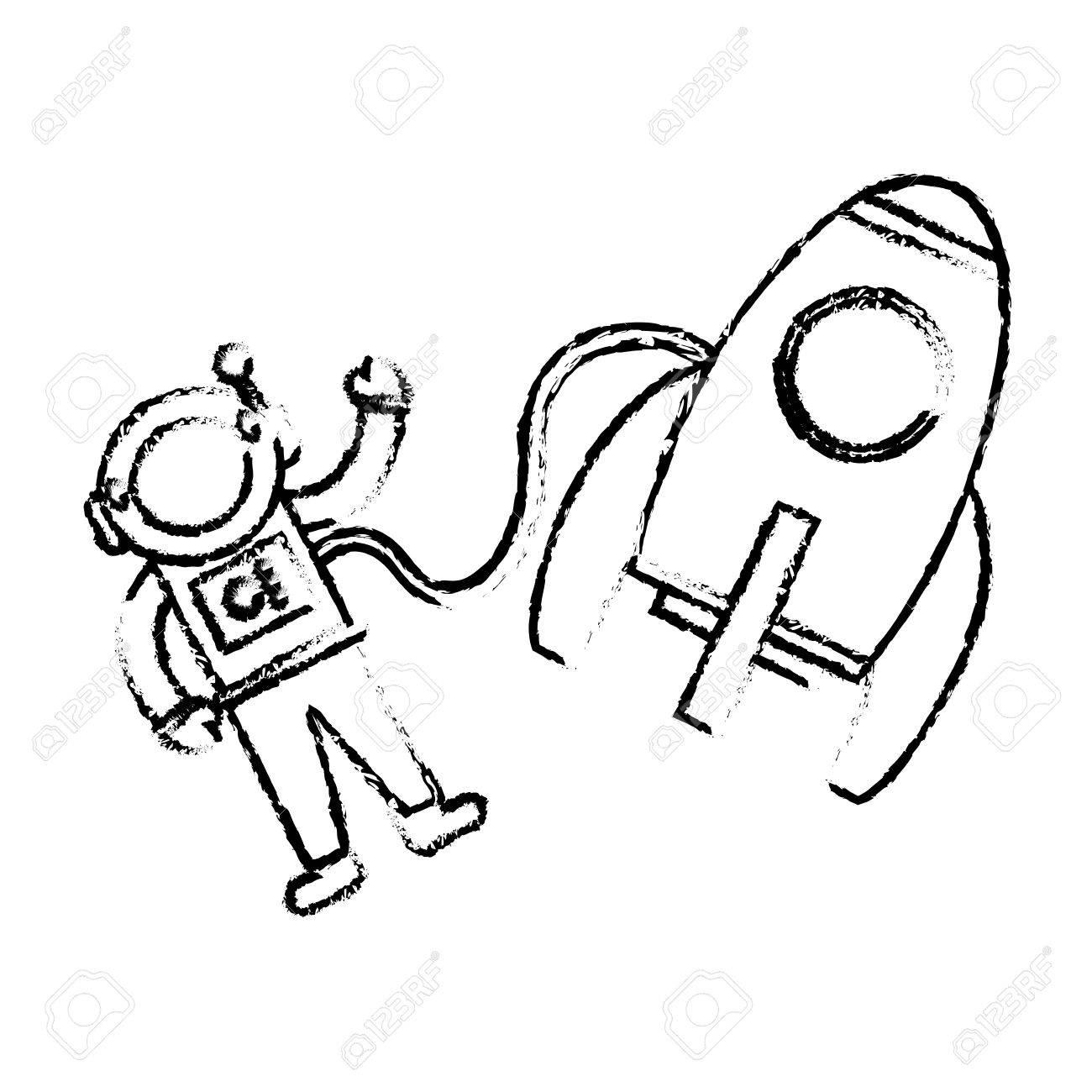 1300x1300 Astronaut Rocket Floating Sketch Vector Illustration Eps 10