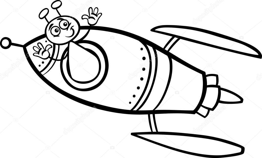 1023x618 Alien In Rocket Cartoon Coloring Page Stock Vector Izakowski