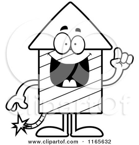450x470 Cartoon Clipart Of A Rocket Firework Mascot With An Idea