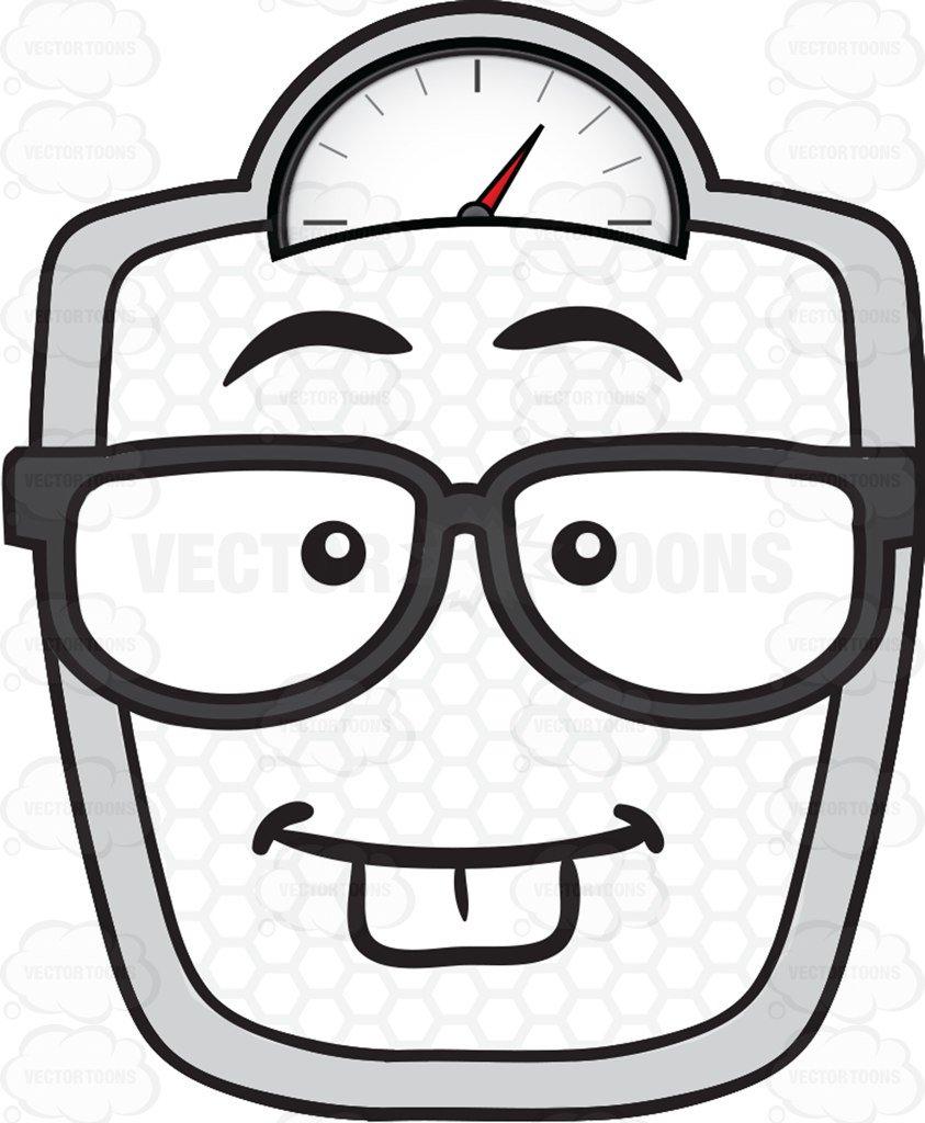 843x1024 Nerd Looking Weighing Scale Wearing Eye Glasses Emoji Cartoon
