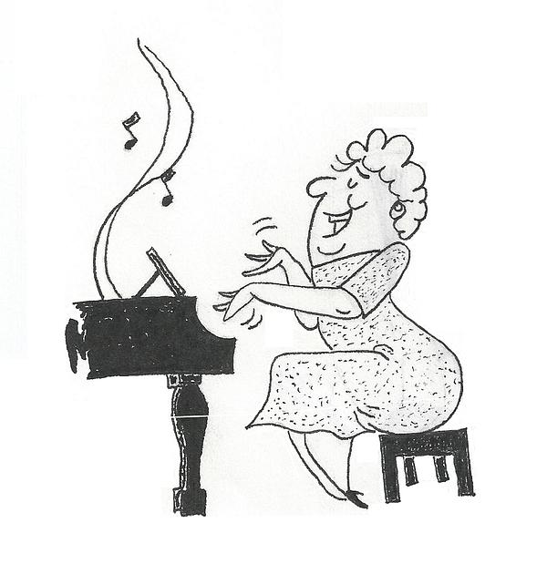 600x619 She's Music To My Ears Another Cartoon Drawing Of A Woman Playing