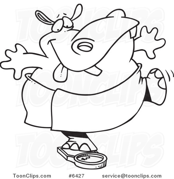 581x600 Cartoon Black And White Line Drawing Of A Hippo Trying To Deceive
