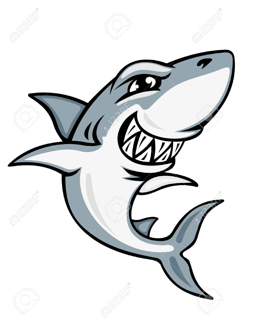 1028x1300 Cartoon Smiling Shark For Mascot And Emblem Design Royalty Free