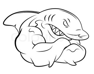 320x252 Big Smiling Swimming Blue Cartoon Shark, Side View, Vector