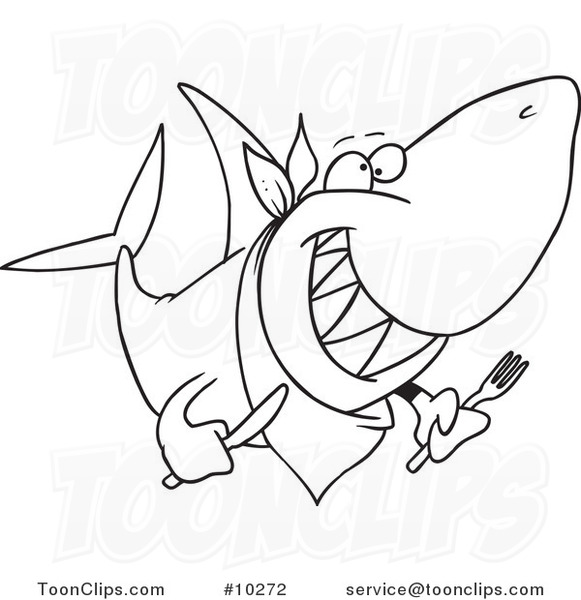 581x600 Cartoon Black And White Line Drawing Of A Hungry Shark
