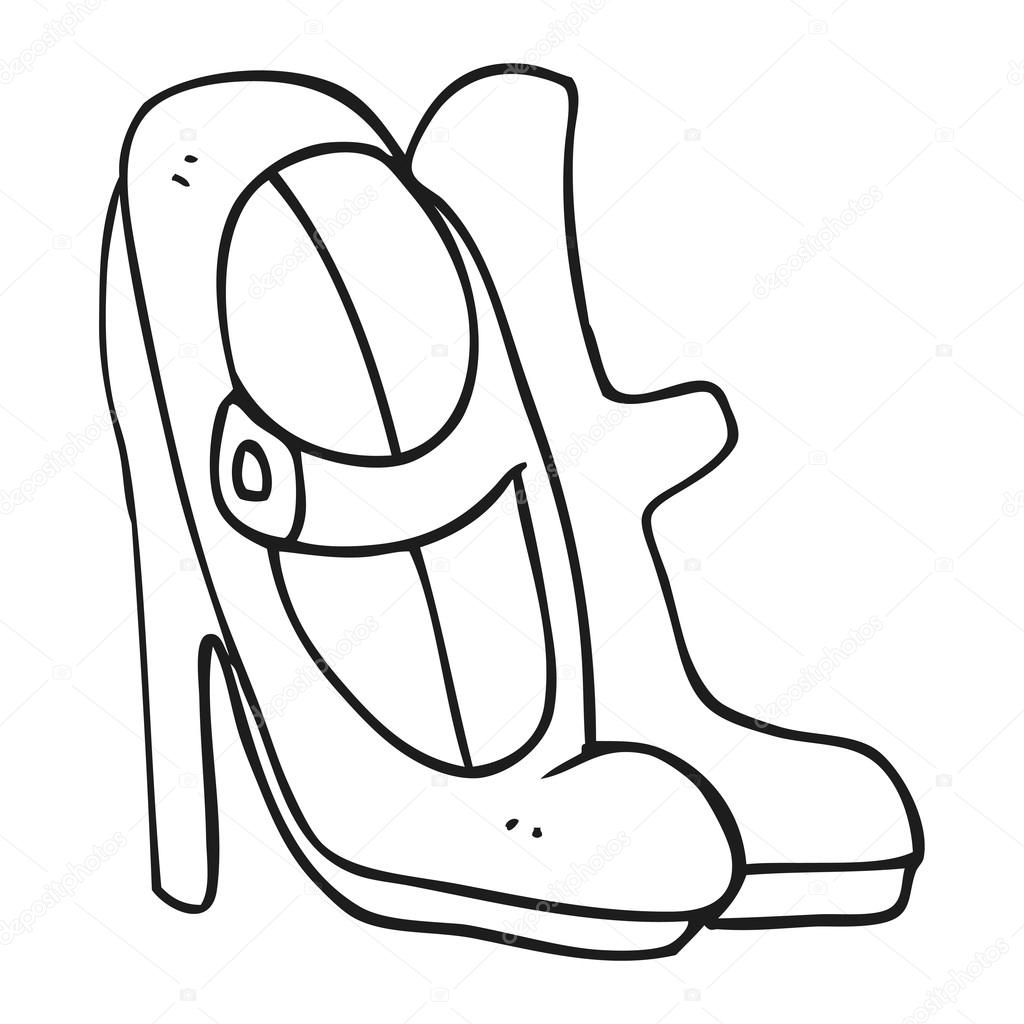 1024x1024 Black And White Cartoon High Heeled Shoes Stock Vector
