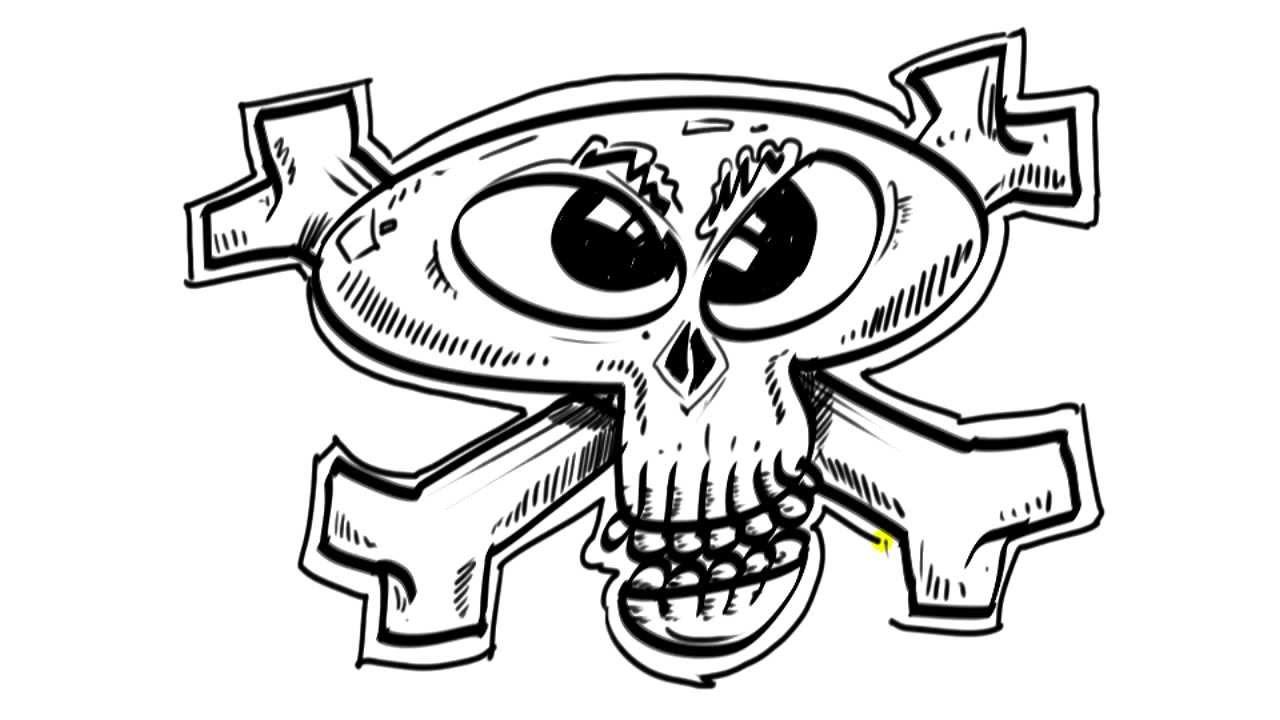 1280x720 Draw Cartoon Skull And Crossbones