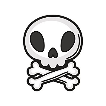 355x355 Adorable Baby Skull And Crossbones Cartoon Vinyl Decal