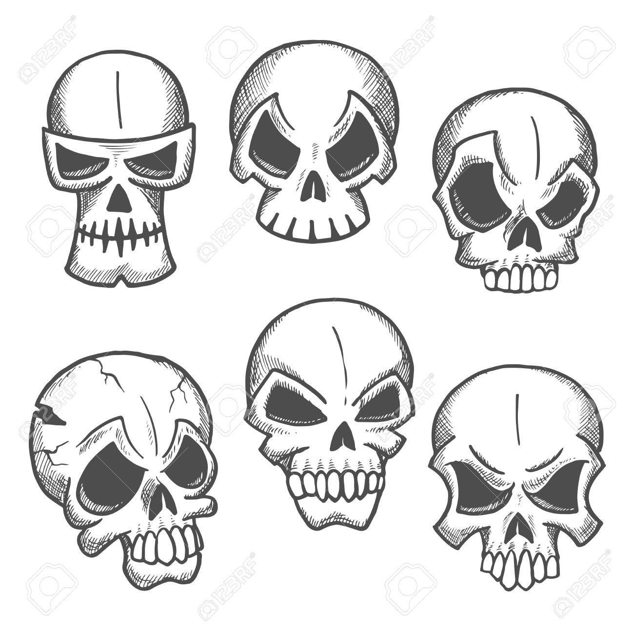 1300x1300 Artistic Skeleton Skulls Sketches Icons. Abstract Cranium Shapes