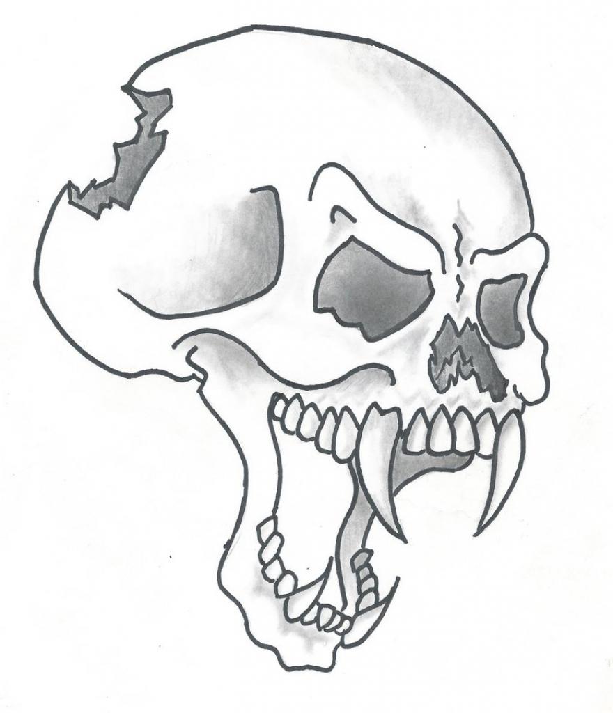 880x1024 Skull Drawings Easy Cartoon Skull Drawing