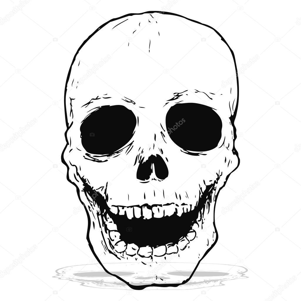 1024x1024 Spooky Skull Drawing Stock Vector Lineartestpilot